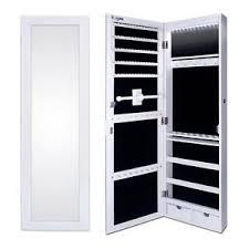 Image Is Loading EzigooLEDMirrorJewelleryCabinetDoorWallMounted Wall Mounted Jewelry Cabinet O89
