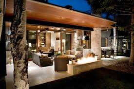 covered patio designs outdoor living room with stone and wood