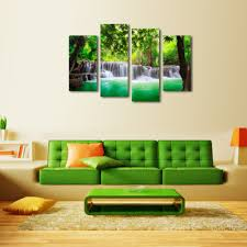 Lime Green Living Room Lime Green Tutfed Couch And Waterfall Painting For Modern Living