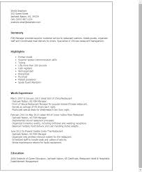 Resume Templates: Foh Manager