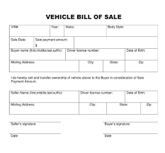 Free Vehicle Bill Of Sale Form Free Printable Bill Of Sale Of Car Template Guve Securid Co