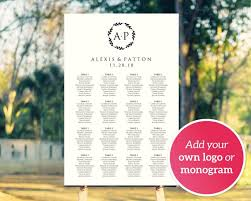 Poster Seating Charts For Wedding Receptions Diy Wedding Monogram Logo Seating Chart Template Four Sizes