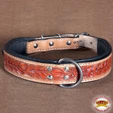 hilason heavy duty genuine leather dog collar fl carving tan zoom
