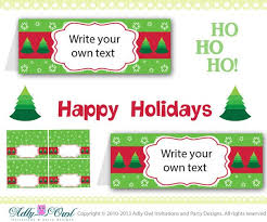 Christmas Tree Labels Holiday Christmas Food Tent Labels Christmas Tree Diy 2014 New Year Only Digital File You Print