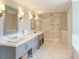 white bathroom cabinets gray walls. wall lights,gray double vanity w/open shelves,marble shower \u0026 counters herringbone floor white bathroom cabinets gray walls e