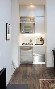... Kitchen Design, White Square Modern Wooden Small Kitchens For Studio  Apartments Stained Ideas For Studio ...