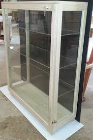 glass display cabinet with glass shelves dust proof