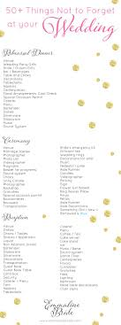 Checklist For Wedding Day Wedding Day Checklist Printable 50 Things Not To Forget 2536363