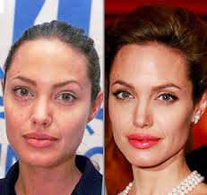 do you see any difference not really right angelina is a beauty and she has a nice and healthy skin