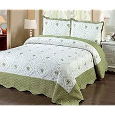 Amazon.com: Fancy Linen 3pc Bedspread Quilted Bed Cover Queen/king ... & Fancy Linen 3pc Bedspread Quilted Bed Cover Queen/king (sage) Adamdwight.com