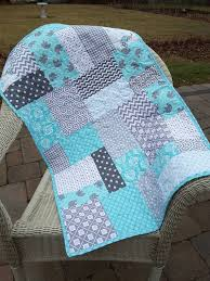 Best 25+ Quilted baby blanket ideas on Pinterest | Baby quilts ... & Baby quilt, gray and aqua / teal, baby elephants. Ready to ship! Baby  blanket, soft fleece Adamdwight.com