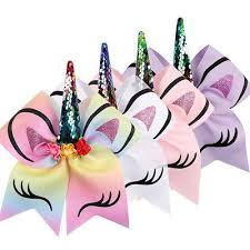 <b>1PC</b> UNICORN HORN <b>Sequin</b> Bows With Rubber Band Kid <b>Girls</b> ...