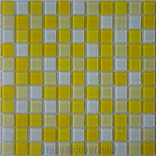 white yellow crystal glass mosaic tile