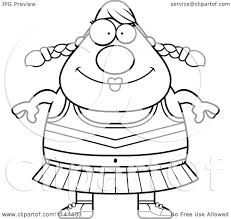 Cartoon Clipart Of A Black And White Happy Chubby Cheerleader ...