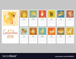 mothly calendar calendar 2018 cute monthly calendar with vector image