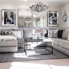 Living Room decor ideas - glamorous, chic in grey and pink color palette  with sectional