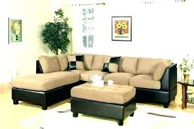 brown leather sofa with fabric chairs cloth mixing decorating around a living room home furniture appealing