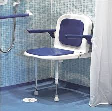 wall mounted fold up padded shower seat with back and arms blue 4000 series 04130p