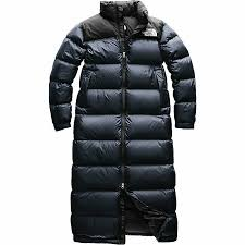 details about the north face women s nuptse duster long down coat jacket urban navy 420 xl