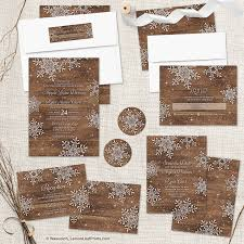 Rustic Winter Wedding Invitations Rustic Winter Wedding Invitation Set Snowflakes Over Wood Wedding