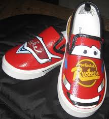 lightning mcqueen hand painted shoes by head to toe contact us at 214 250 0230