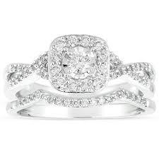 infinity wedding ring set. infinity 1 carat round diamond wedding ring set in white gold t