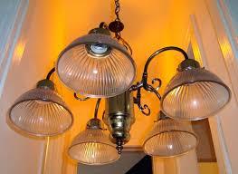 brass chandelier before makeover