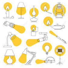 Lamp Lights Line Drawing Of A Set Of Lamp And Lighting Equipments