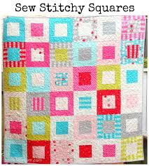 Sew Stitchy Squares Quilt - tutorial | Samelia's Mum - uses a ... & Free Beginner Easy Quilt Pattern -Sew Stitchy Squares, uses 1 charm pack  and 1 jelly roll Adamdwight.com
