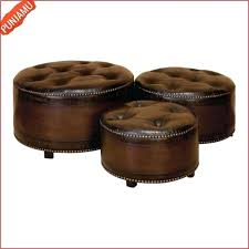 round leather ottoman tufted traditional inch round tufted leather wood ottomans brown us
