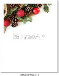 Christmas Ornaments Border Free Art Print Of Christmas Bulb Pinecone And Evergreen Border Isolated On White