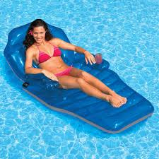 adjule chaise pool float recliner fun inflatable lounge chair cup holder new