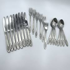 Huge lot of bugatti for vietri flatware in cobalt acrylic vintage 27 pc. Oneida Polonaise Stainless Steel Flatware 22 Pc Knives Soup Spoons Salad Forks Oneida Ad Stainless Steel Flatware Stainless Flatware Flatware