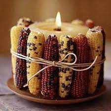 Indian Corn Candle holder display