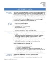 ideas collection server job description resume server job