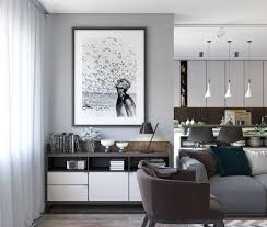 Modern Apartment Design Interior Spacious Looking One Bedroom Apartment With Dark Wood