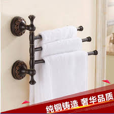 2019 whole and retail luxury oil rubbed bronze wall mounted towel rack holder 3 swivel bars flower carved solid brass towel hook from gonglangno1