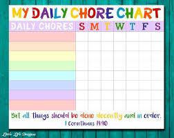 Chore Chart For Kids Chore Chart Printable Chore List