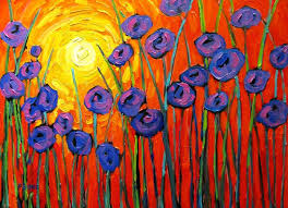 sunrise abstract poppies abstract huge contemporary acrylic on a extra large canvas commissioned painting
