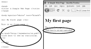 3: Example of a web page with its HTML code on the left side ...