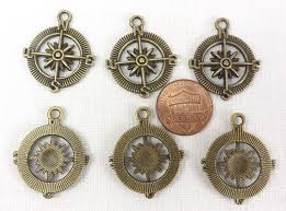 compass pendants 6 nautical charms travel jewelry findings jewelry making supply images of