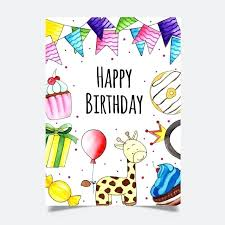 Watercolor Birthday Greeting Card Template For Free Download