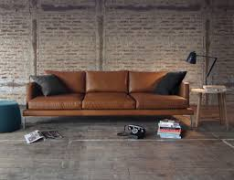 Modern leather couch Small Lennon Leather Sofa Lounge Homedosh Modern Leather Sofas From Huset Modern Home Decor