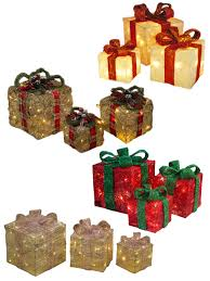 3 Light Up Christmas Boxes Details About Light Up Gift Boxes Presents Set Of 3 Christmas Glitter Led Indoor Decoration