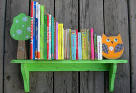 birch tree kids bookshelves feature sweet woodland creatures in vibrant colors