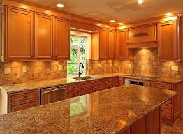Kitchen, Nice Granite Countertops With Light Brown Cabinets Part 1 Kitchen  Countertop Ideas With Oak