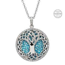 tree of life pendant encrusted with swarovski crystals