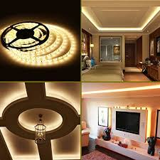 home led strip lighting. LE® 16.4ft Waterproof Flexible LED Strip Lights, 300 Units SMD 3528 LEDs, 12V Light Strips, 3000K Warm White, 91 Lumens/ft, 1.5 Watts/ft, Tape, Home Led Lighting R