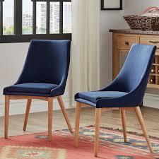 leton twilight blue linen dining chair set of 2