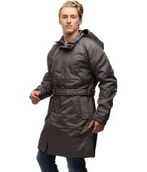 wild nature mens waterproof trench coat with detachable hood grey